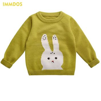 IMMDOS O-neck Sweaters Autumn Winter New Arrival Baby 2017 Boys Girls Cardigan Cartoon Rabbit Kids Long Sleeve Children Costume