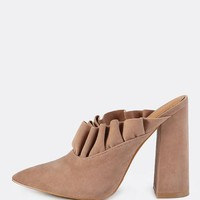 Slip On Victorian Frill Mules TAUPE