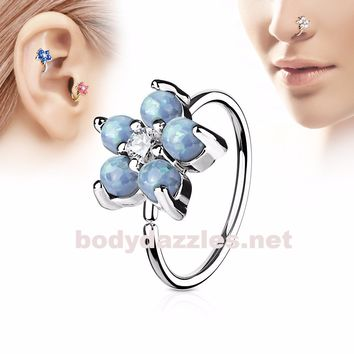 Light Blue Opal Glitter Set Flower Petals CZ Center 316L Surgical Steel Hoop Ring for Nose Ear Cartilage Daith Rook