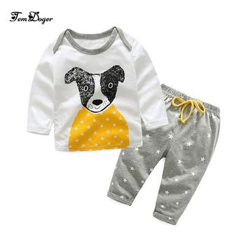Tem Doge 2017 autumn winter newborn boys girls sports clothes baby clothing sets cotton long-sleeved dog tops+pants 2pcs outfits