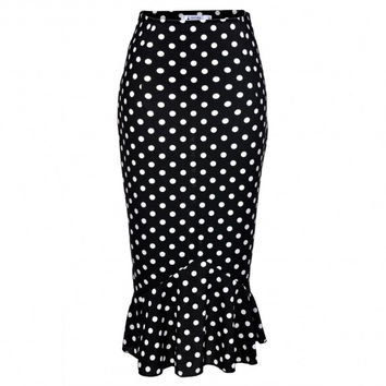 Women Dot Vintage Style High Waist Bodycon Mermaid Pencil Skirt