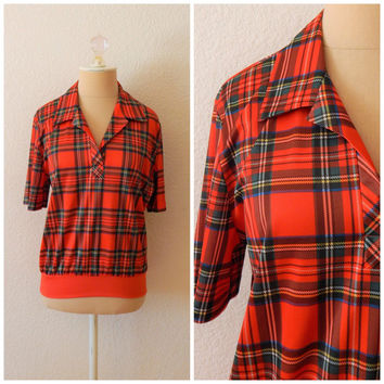 Vintage 70s Womens Red Green Plaid Polyester V Neck Collared Top Blouse Medium