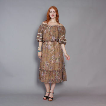 70s Bohemian Gauze PEASANT DRESS / 1970s Mocha Brown Floral Off Shoulder Midi