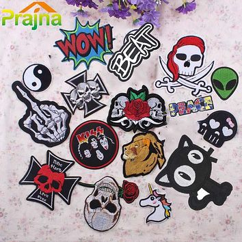 KIDS IRON-ON PATCH 1 PCS Letter Skull Punk Patch Biker Unicorn Kids Iron On Cartoon Patches Cheap Embroidered Cute Band Patches For Clothing Jeans
