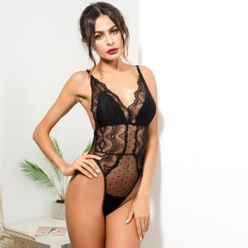Lace Stitching Fan-Shaped Lace Fashion Underwear Fun One-Piece Dress Pajamas Women[1577051226192]