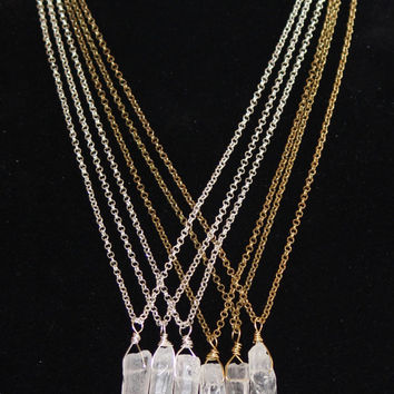 Layering Necklace Clear Raw Quartz Crystal Natural Point Pendant on a Silver Plated or Antique Brass rolo Chain, 24 inches, Crystal Point