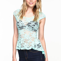 FLORAL LACE CHIFFON TOP