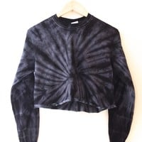 Black Tie-Dye Cropped Long Sleeve Unisex Tee