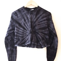 Black Tie-Dye Cropped Long Sleeve Tee