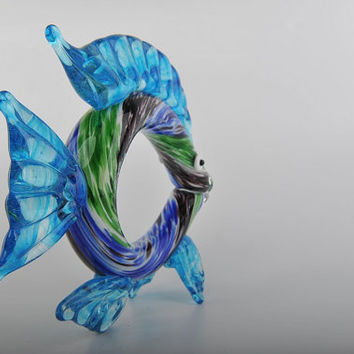 Glass Decoration of  a Blue and Green Fish with Belly Hole  Home Decor Murano Art Styled Blown Glass Figurine Colorful Statue