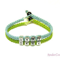 Bracelets for Couples, Okay Okay, Lime Green and Light Blue Macrame Hemp Jewelry, Made to Order