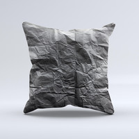 Dark Black Wrinkled Paper Ink-Fuzed Decorative Throw Pillow