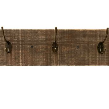 Reclaimed Wood Coat Rack - Dark