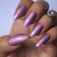 Holographic stiletto nails , Holographic nails, Purple nails, Fake nails, False nails, Kylie jenner, Press on nails, Acrylic Nails, nails