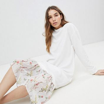 ASOS DESIGN midi dress with 2 in 1 floral mesh hem at asos.com