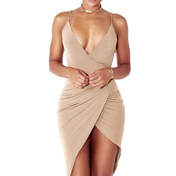 Women's Sexy V Neck Spaghetti Strap Bodycon Wrap Dress Front Slit Bandage Midi Club Dresses