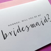 Personalized Will You Be My Bridesmaid? Greeting Card A6 Wedding Invitation Card, Bridesmaid, Wedding Card For Her, Personalised Wedding