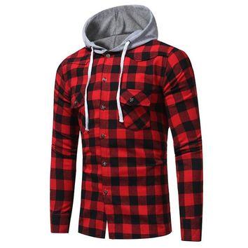 New Men's Hooded Button Down Long Sleeve Slim Fit Shirt Blusas 2017 Casual Autumn Plaid Check Fashion Blouse Tops Chemise