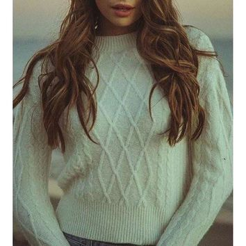 ONETOW Fall Winter Fashion White Long Sleeve Pullovers Sweater