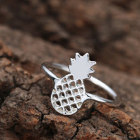 Delicate Fruit Plant Pineapple Rings Hollow Ring Finger Joints Tail Ring