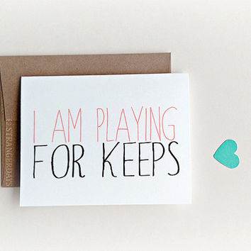 "Love card "" playing for keeps "" Anniversary Card, First Anniversary Card, Card for Girlfriend, Card for Wife, Boyfriend Card, Valentines Day"