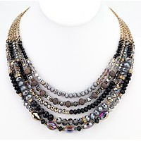 Beaded Glass Statement Necklace - Black