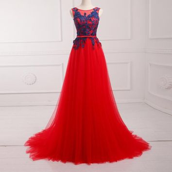 Tulle Lace Red Evening Dress Long Cap Sleeve Applique Formal Prom Gowns Back Lace-up Design