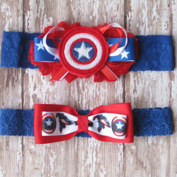 Captain America Lace Garter Set | Red, White, and Blue Captain America Wedding Garters | Bridal Garter and Toss Garter