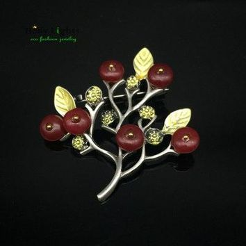 Ethnic brooch female vintage metal scarf holder broches green supernatural stone tree pins de mujer vintage badges for women new