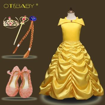 Hot Girls Belle Princess Dresses for Carnival Party Fancy Kids Beauty and the Beast Costumes Children Yellow Festival Ball Gown