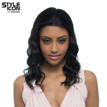 Styleicon Malaysian Virgin Hair Wig Color 1B Lace Front Human Hair Wigs For Women 16 Inch Long Body Wavy Free Shipping