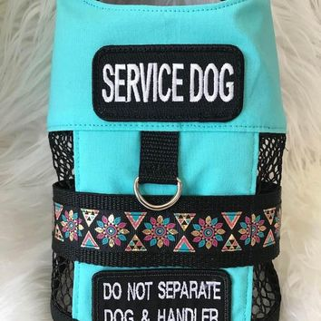 Dog Service Vest / TEAL / ALL SIZES / service dog / dog clothes / accent black- blue  ribbon