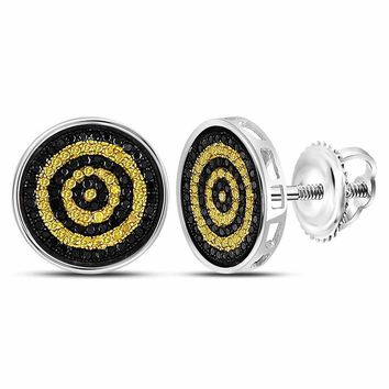 Sterling Silver Mens Round Yellow Black Color Enhanced Diamond Circle Stud Earrings 1/2 Cttw