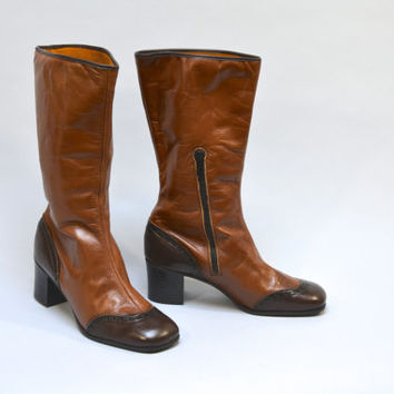 Deadstock 70s Boots - NOS Vintage Seventies Boots Two Tone Brown Leather Wingtip Style Tall Boots High Heel Boots Ankle Zip Size 8