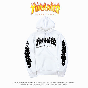 Thrasher Unisex  Tops Winter Couple Hoodies [9506895687]