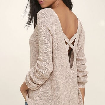 Pursuit of Happiness Beige Backless Sweater
