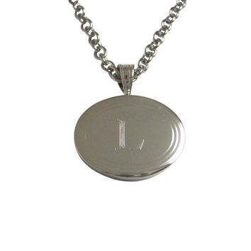 Silver Toned Etched Oval Letter L Monogram Pendant Necklace
