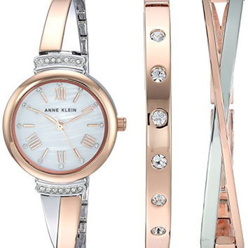 Women's Swarovski Crystal Accented Rose Watch and Bracelet Set
