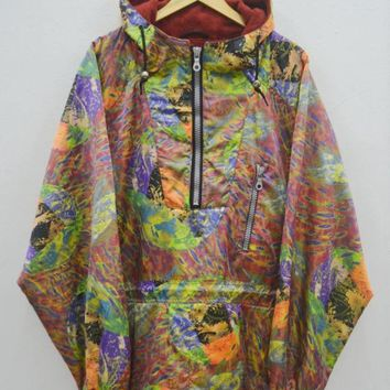 asics psychedelic jacket vintage 90 39 s asics team asics winter ski wear half zipper jacket size l  number 1