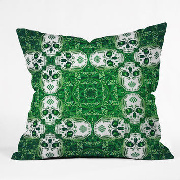 Chobopop Emerald Skull Pattern Throw Pillow