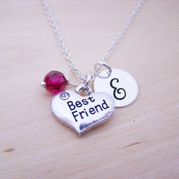 Best Friend Charm Necklace - Swarovski Birthstone Initial Perso   05de874dbb
