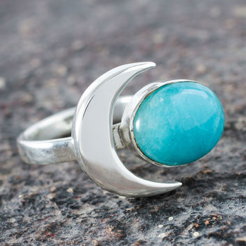 Amazonite cocktail ring, 'Moon Lake'
