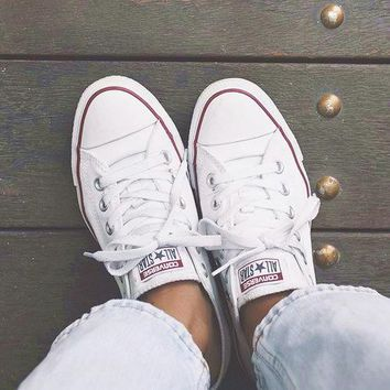 """""""Converse"""" Fashion Canvas Flats Sneakers Sport Shoes White"""