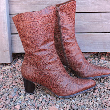 Tooled leather western boots / size US 7 / brown high heeled tooled leather cowgirl boots / crafted in Brazil