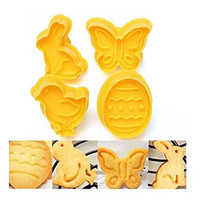 4 Piece Easter Cookie Cutter Set Butterfly Rabbit Chick & Easter Egg Shapes Animal