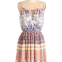 ModCloth Festival Mid-length Halter A-line Geometric Grace Dress