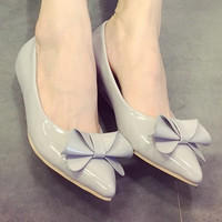 Womens Lovely Ribbon Low Heels