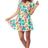 Neon Floral Skater Cross Back Dress