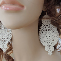 Lace Earrings, Long earrings, Romantic, Victorian earrings, Vintage look earrings, Modern boho earrings, Gift idea