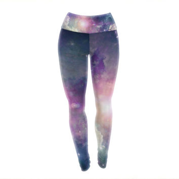 Clouded Vision Purple Space Yoga Exercise Leggings